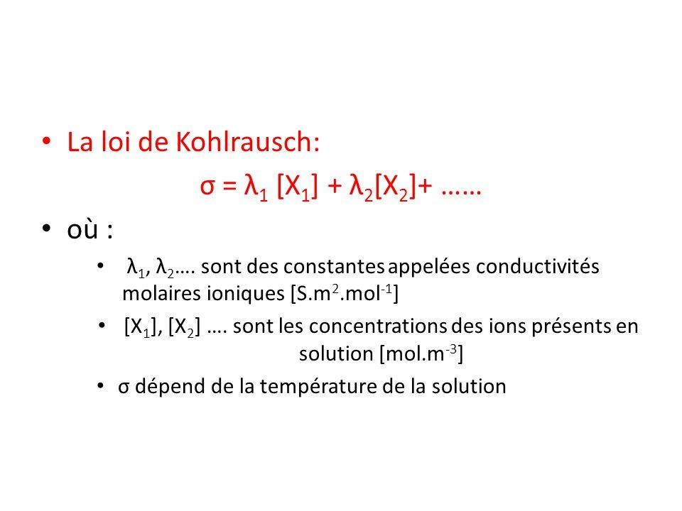 La loi de Kohlrausch: σ = λ1 [X1] + λ2[X2]+ …… où :